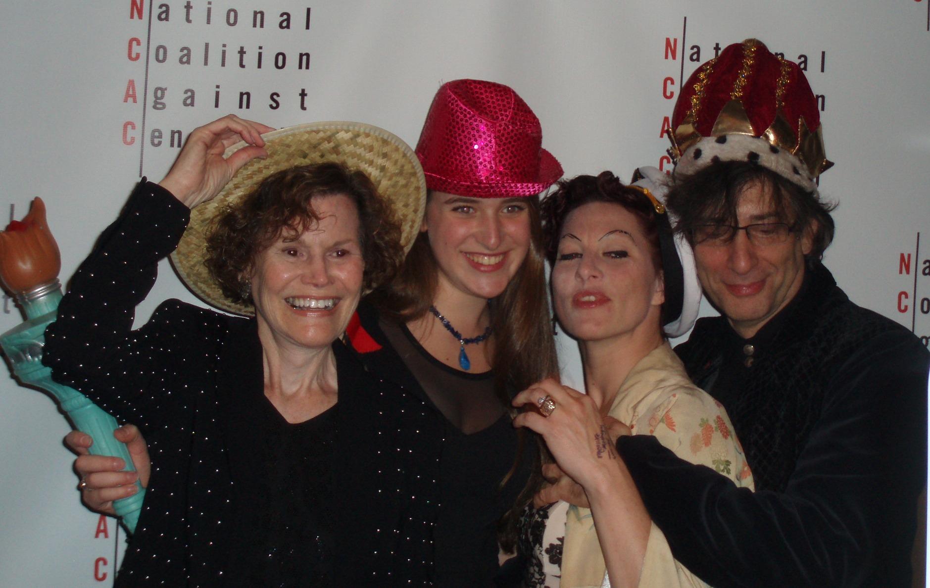 Judy Blume, Trumbull High School's Larissa Mark, Amanda Palmer, Neil Gaiman.