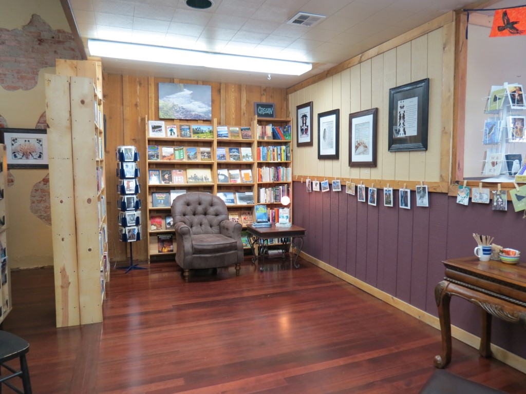 A comfortable reading nook at Looking Glass Books in La Grande, Ore.