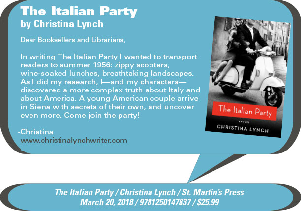 AuthorBuzz: St. Martin's Press: The Italian Party by Christina Lynch