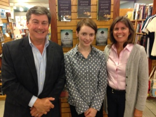 Store owners Peter Makin and Coleen Makin with Emily St. John Mandel (center).