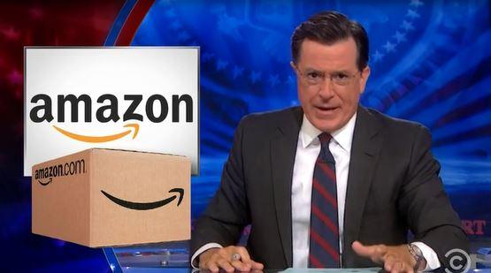 Stephen Colbert, Colbert Report, Amazon box, smirk