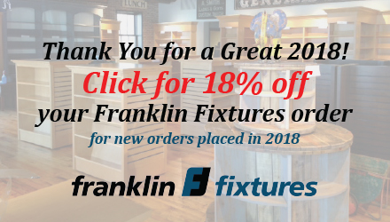 Franklin Fixtures: Thank you for a great 2018! Click for 18% off your Franklin Fixtures order for new orders placed in 2018