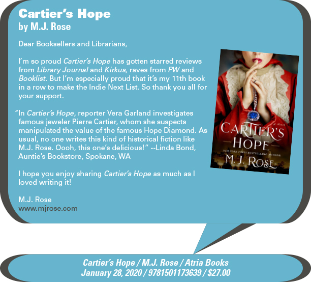 AuthorBuzz: Atria Books: Cartier's Hope by M.J. Rose